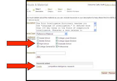 "Screenshot of MERLOT ""contribute a Material"" page with one arrow indicating where to specify the audience and a second arrow specifiying where to enter keywords"