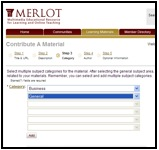 "Screenshot of MERLOT ""contribute a material"" page with arrow indicating the select a category option and the subcategory selected"