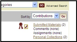 Screenshot of MERLOT showing that the newly submitted material shows in your member profile